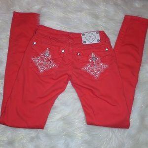 743 Miss Me Red Skinny Jeans